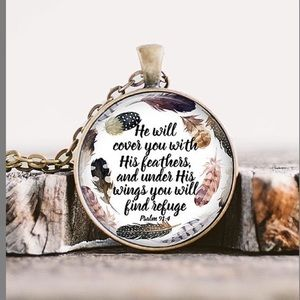 'He Will Cover You' Pendant Necklace